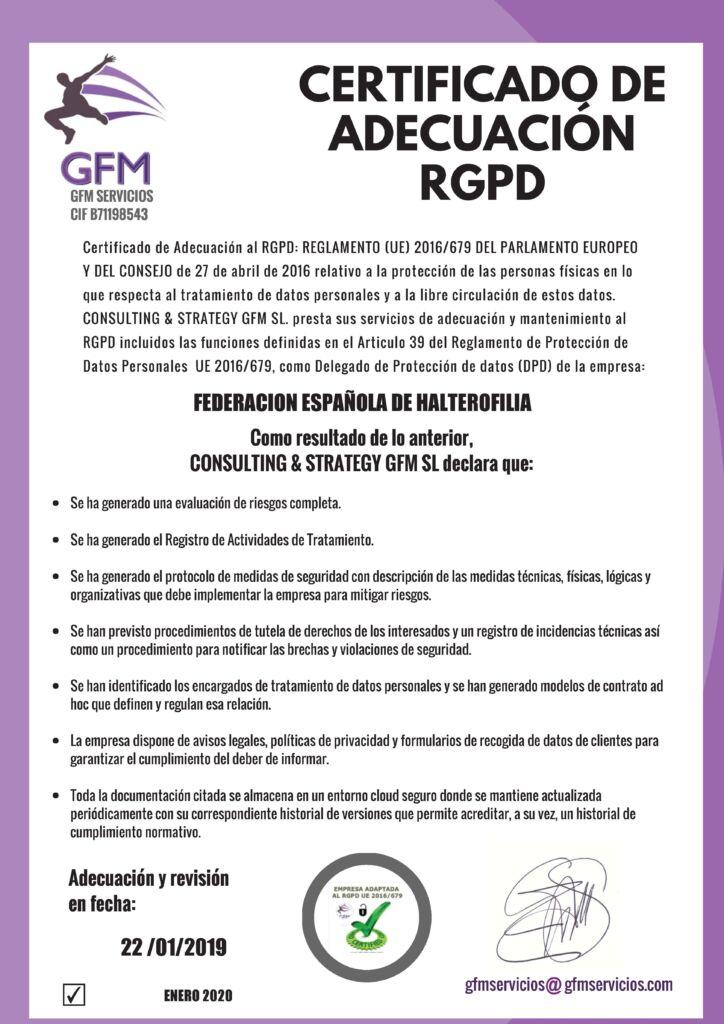 CERTIFICADO ADECUACION 2020 FEDERACION ESPAÑOLA DE HALTEROFILIACERTIFICADO ADECUACION 2020 FEDERACION ESPAÑOLA DE HALTEROFILIA